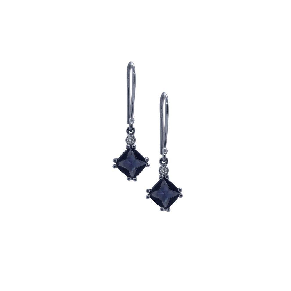 Iolite & Diamond Drop Earrings by JUPP
