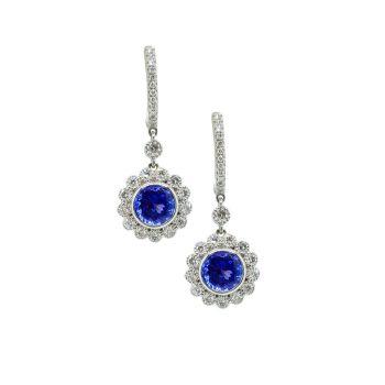 Tanzanite & Diamond Drop Earrings  by JUPP