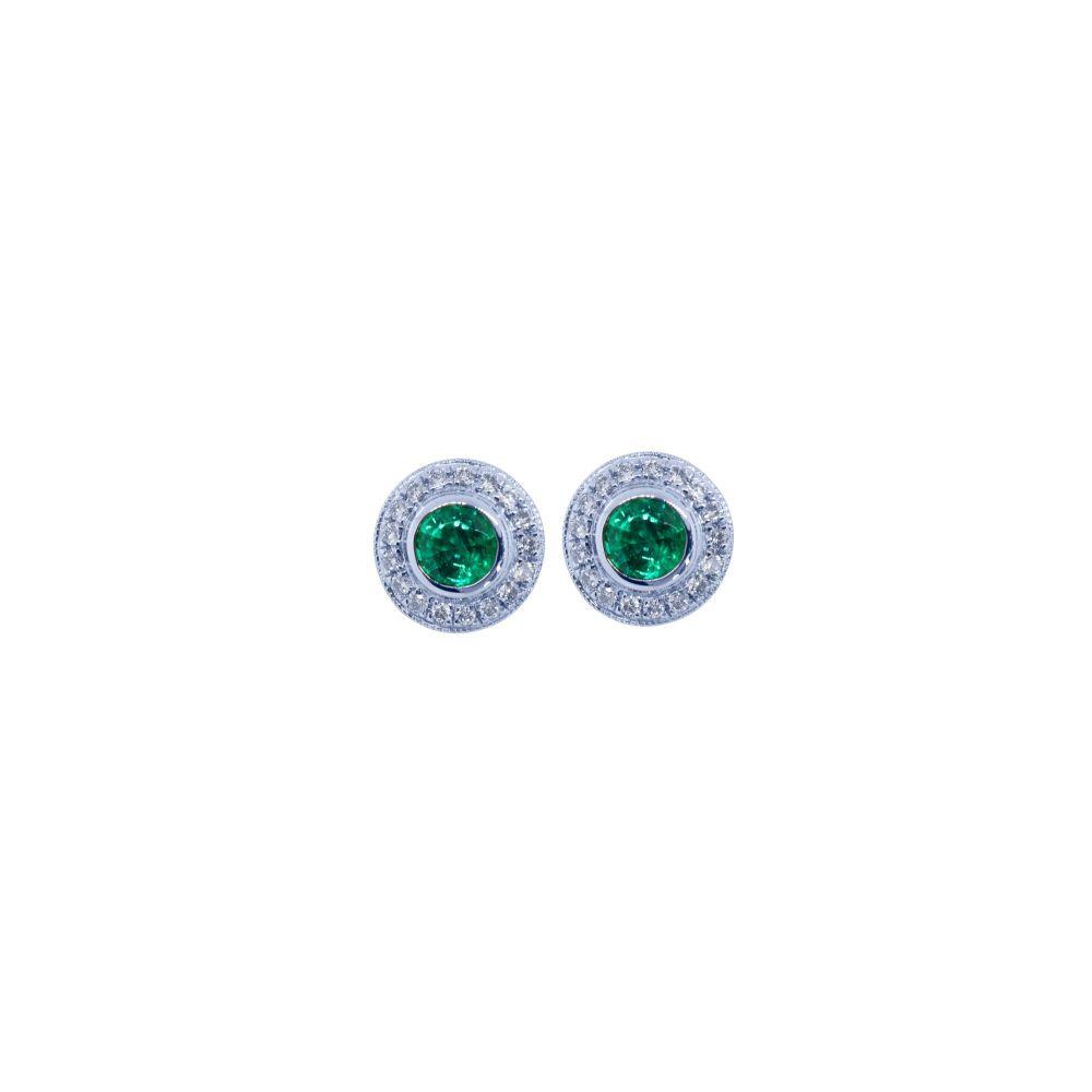 Emerald & Diamond Ear Studs by JUPP