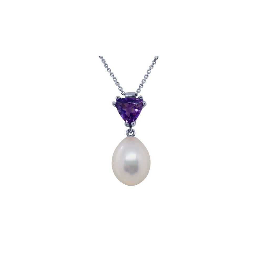 Amethyst & Pearl Pendant by JUPP