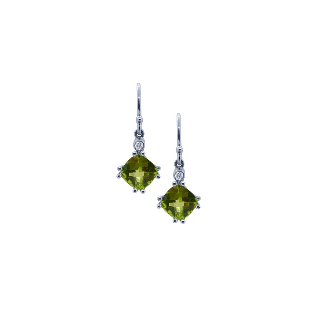 Peridot & Diamond Drop Earrings by JUPP