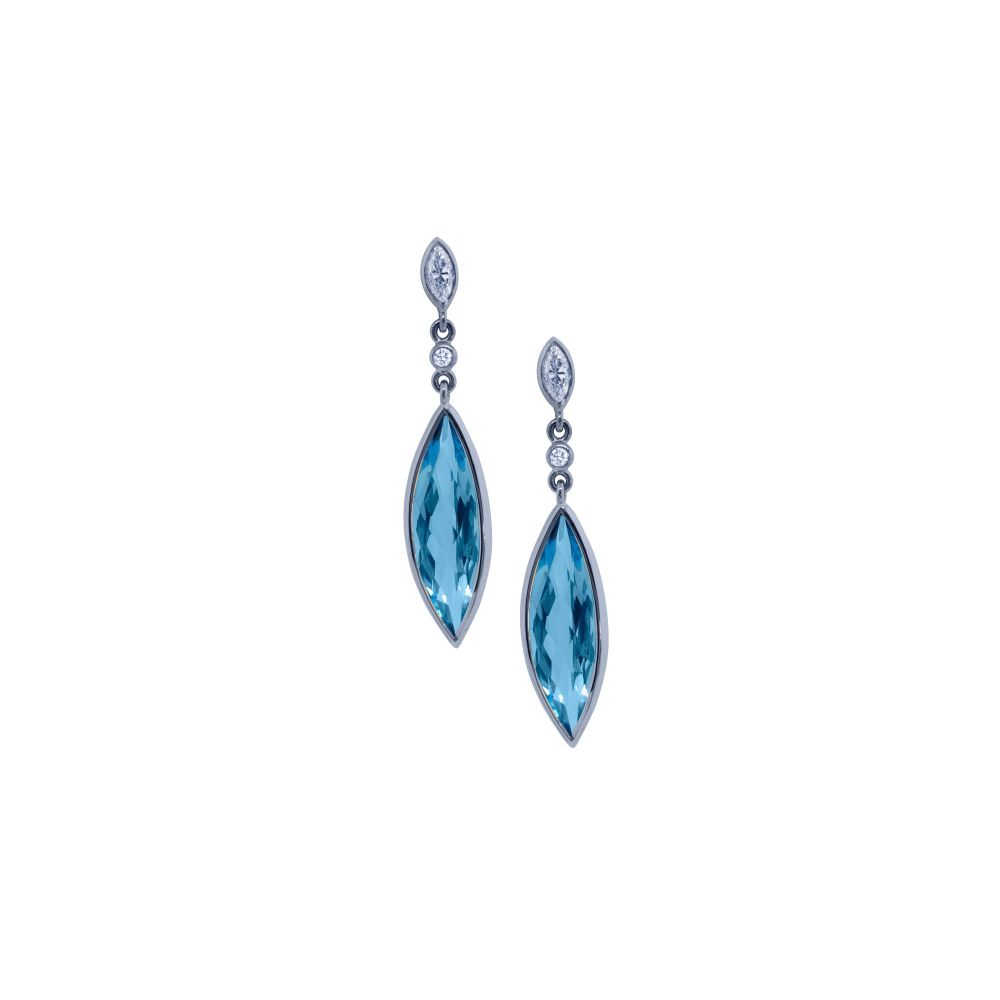Blue Topaz & Diamond Drop Earrings by JUPP