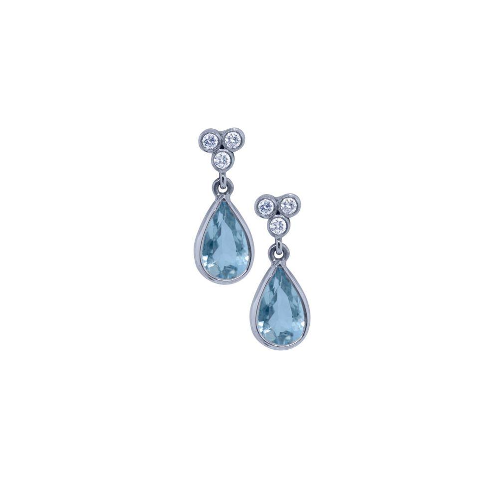 Aquamarine & Diamond Drop Earrings by JUPP