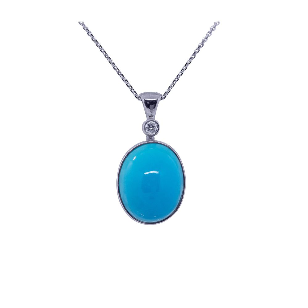 Natural Turquoise & Diamond Pendant by JUPP