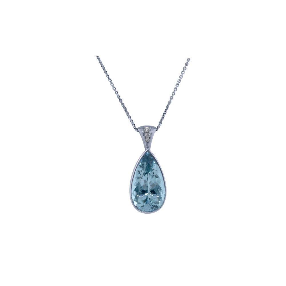 Aquamarine & Diamond Pendant by JUPP