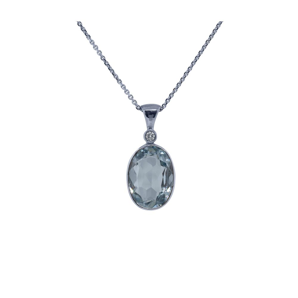 Aquamarine & Diamond Pendant by JUPP