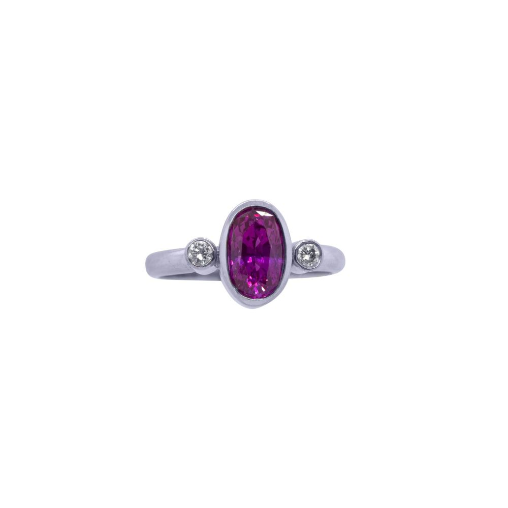 Pink Sapphire and Diamond Ring by JUPP
