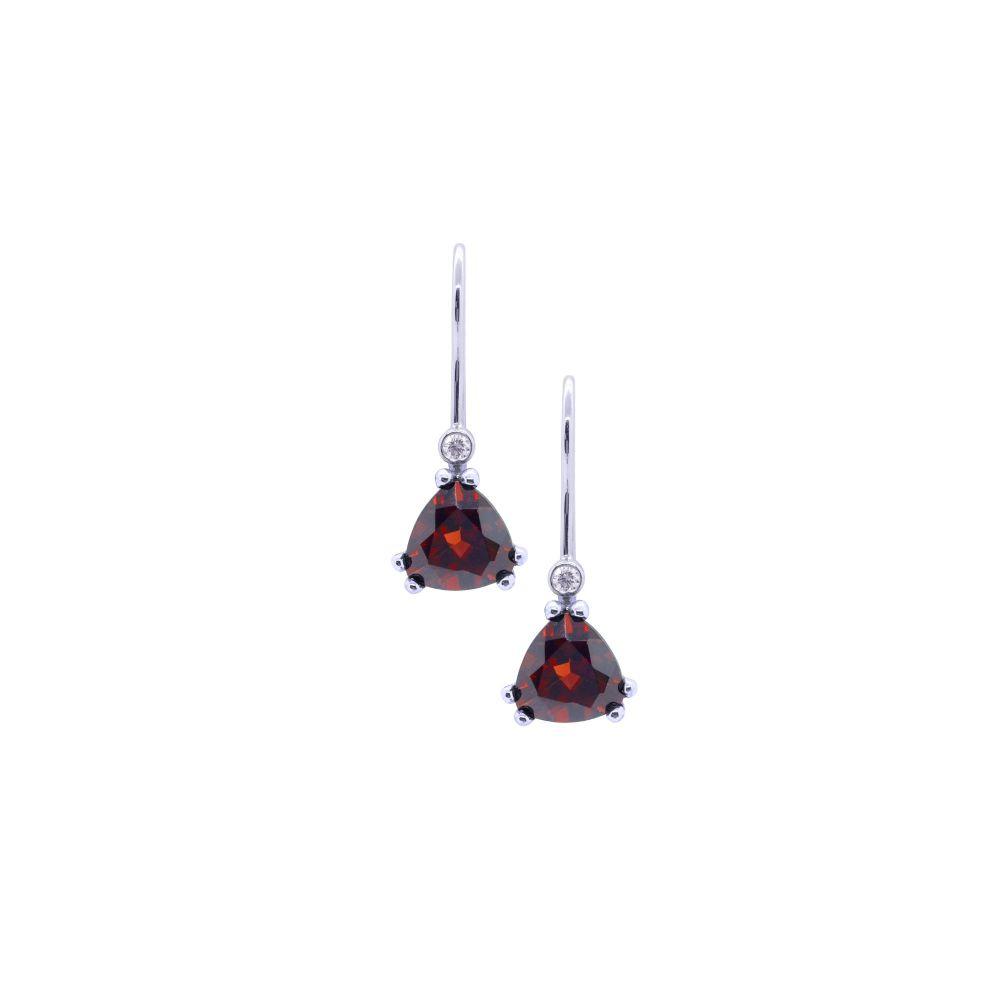 Garnet & Diamond Drop Earrings by JUPP