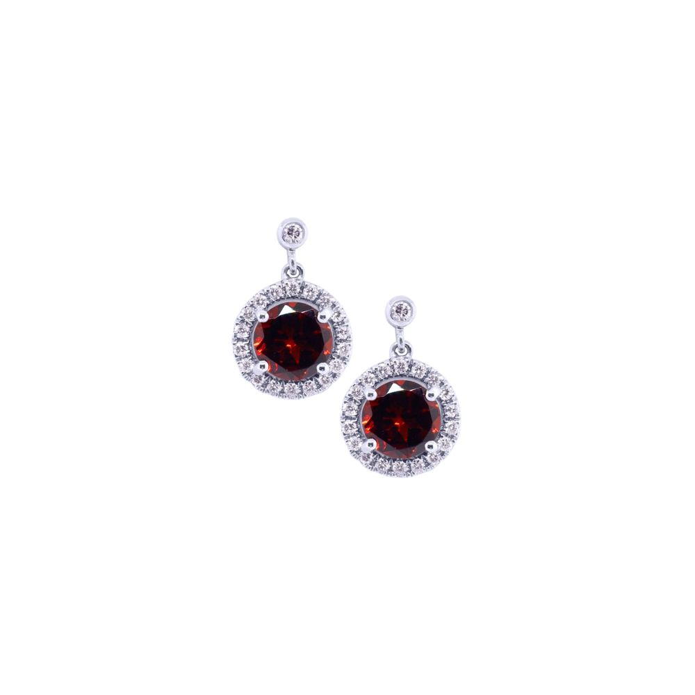 Garnet & Diamond Halo Drop Earrings by JUPP