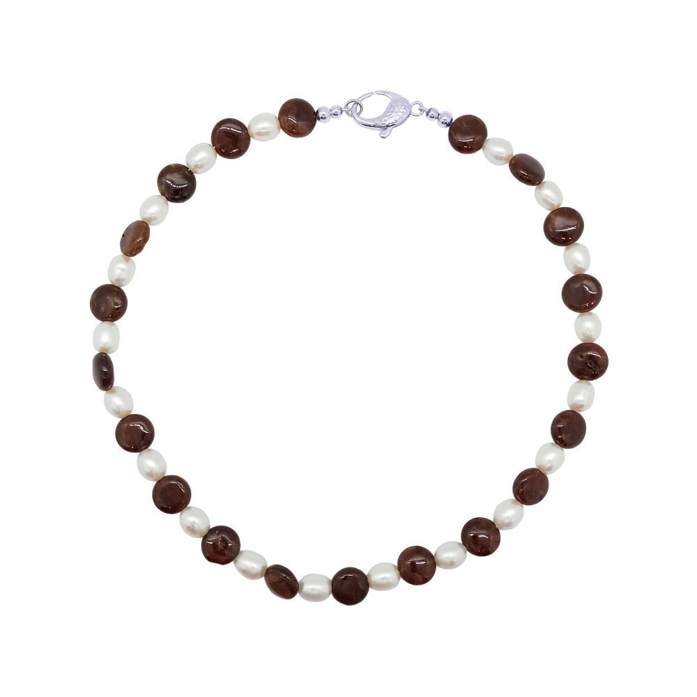 Hessonite Garnet & Pearl Necklace by Jupp