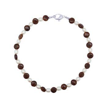 Hessonite Garnet & Pearl Necklace by Jupp