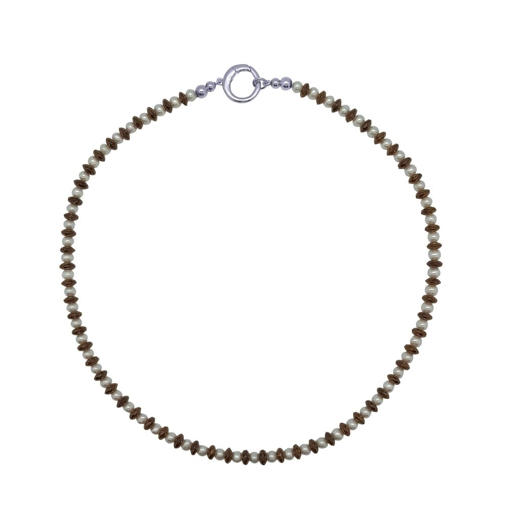 Copper Hematite & Pearl Necklace by Jupp
