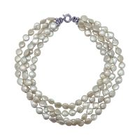 Four Row White Coin Pearl Necklace by JUPP