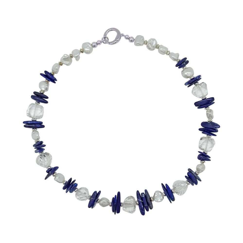 Lapis Lazuli, Pearl and Quartz Necklace by Jupp