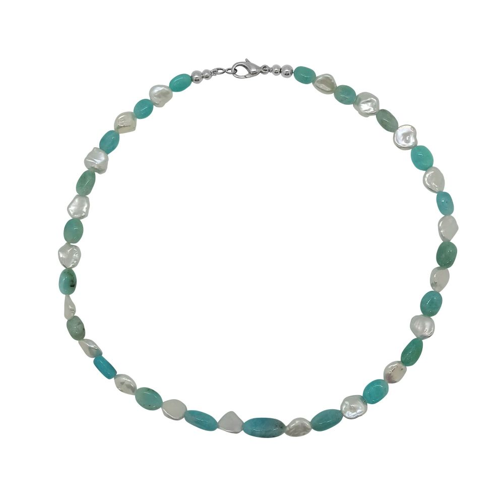 Amazonite & Keshi Pearl Necklace by Jupp