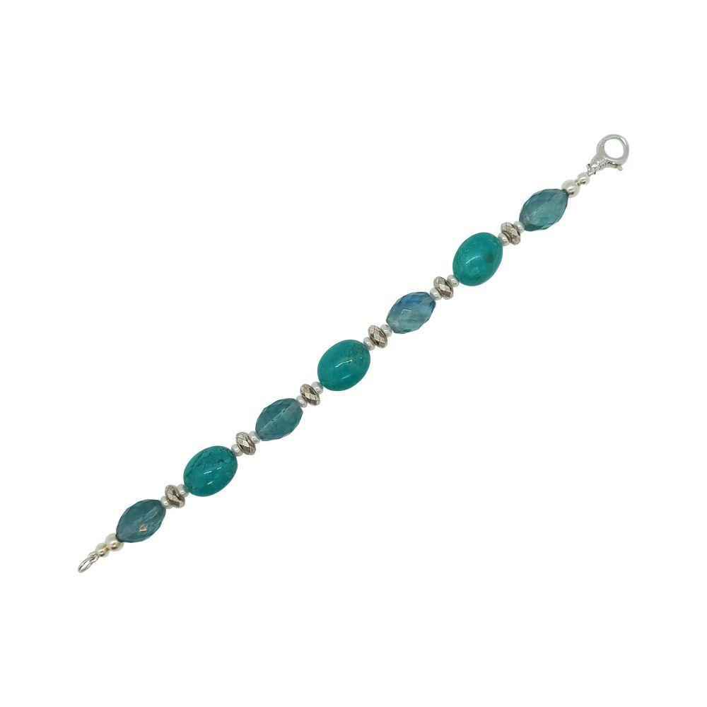 Turquoise, Fluorite & Pearl Bracelet by Jupp