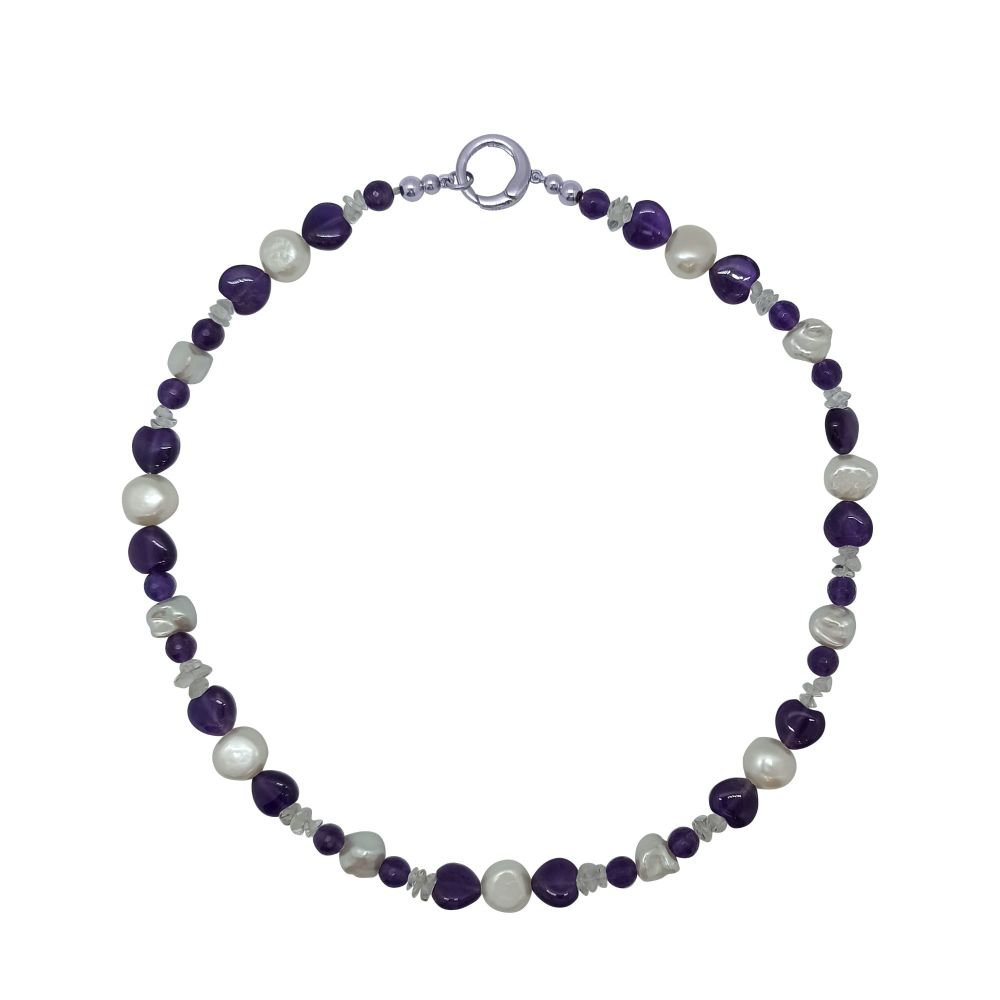 Amethyst, Pearl and Quartz Necklace by Jupp