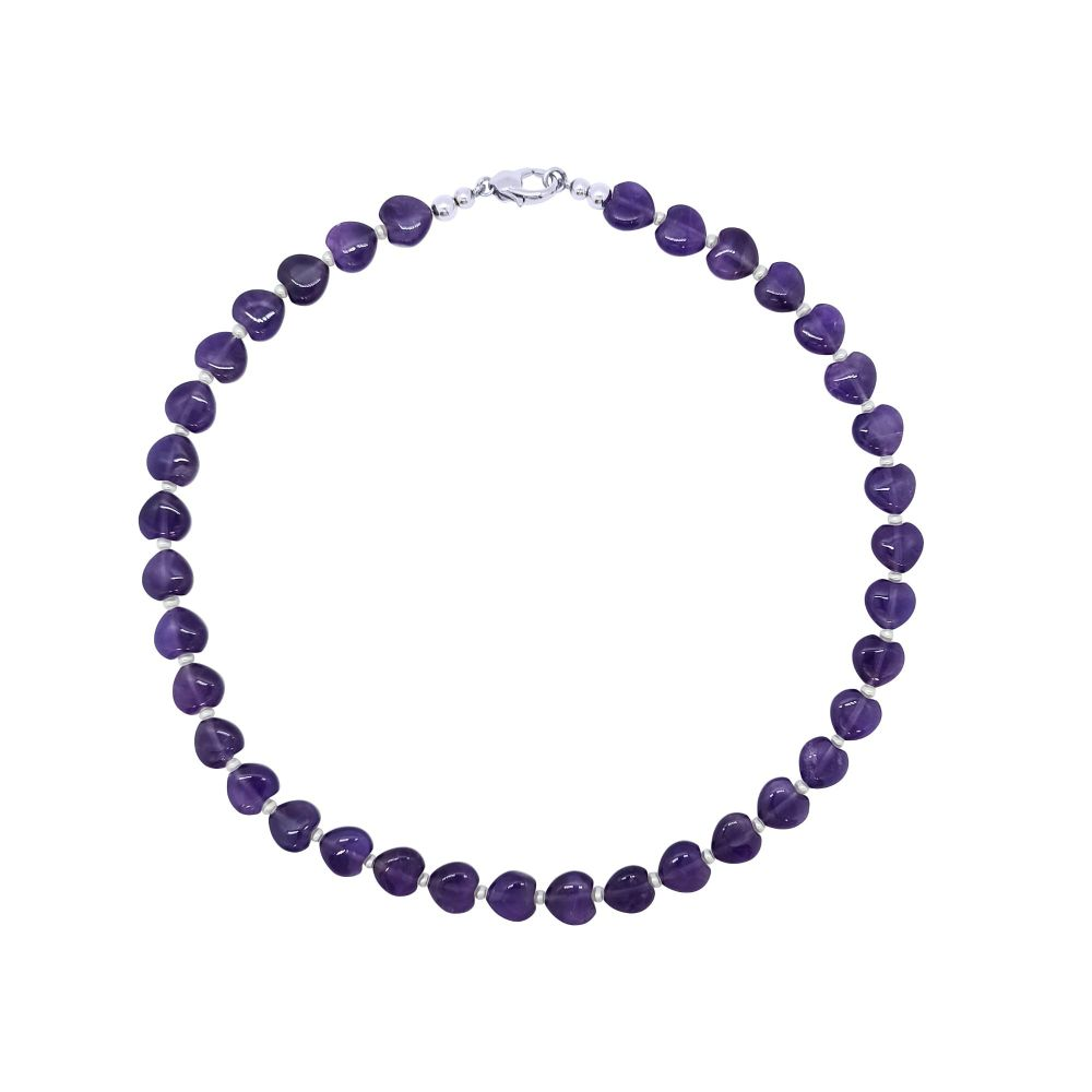 Amethyst Hearts & Pearl  Necklace by Jupp