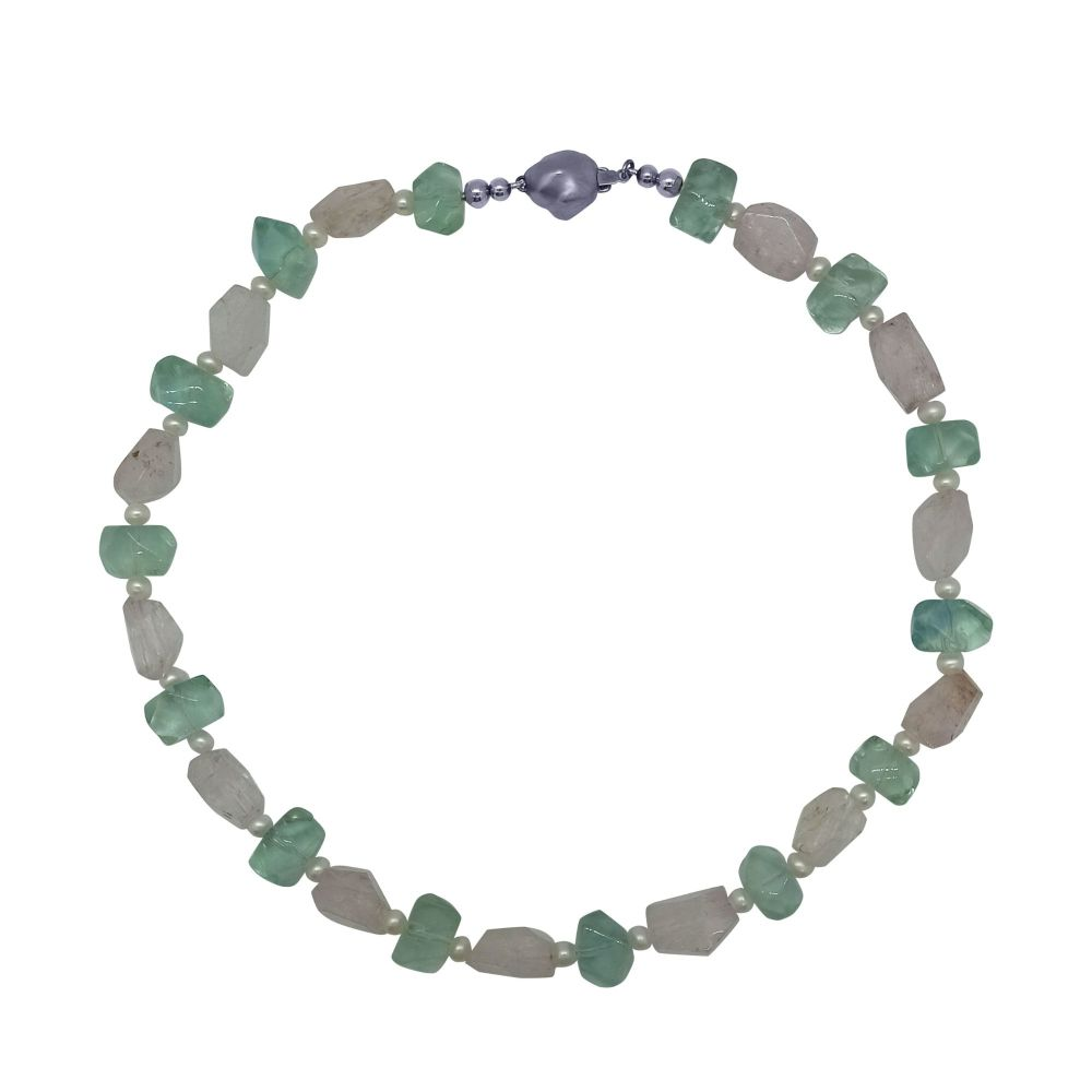 Kunzite, Fluorite and Pearl Necklace by Jupp