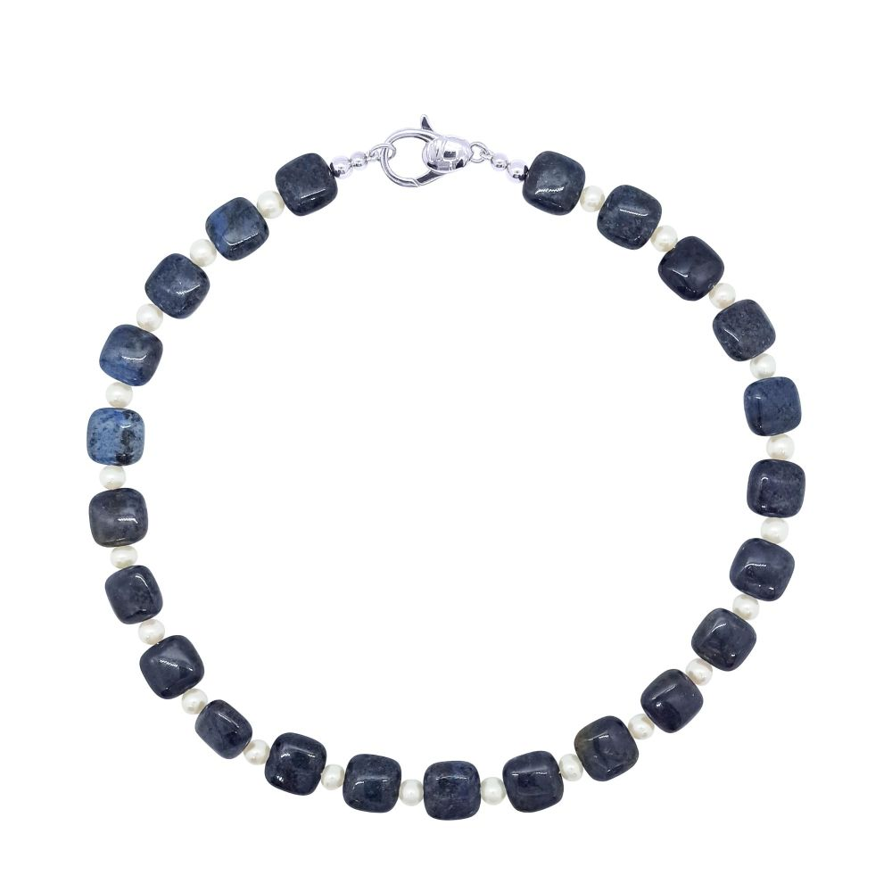 Dumortierite & Pearl  Necklace by Jupp