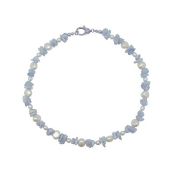 Blue Lace Agate & Pearl  Necklace by Jupp