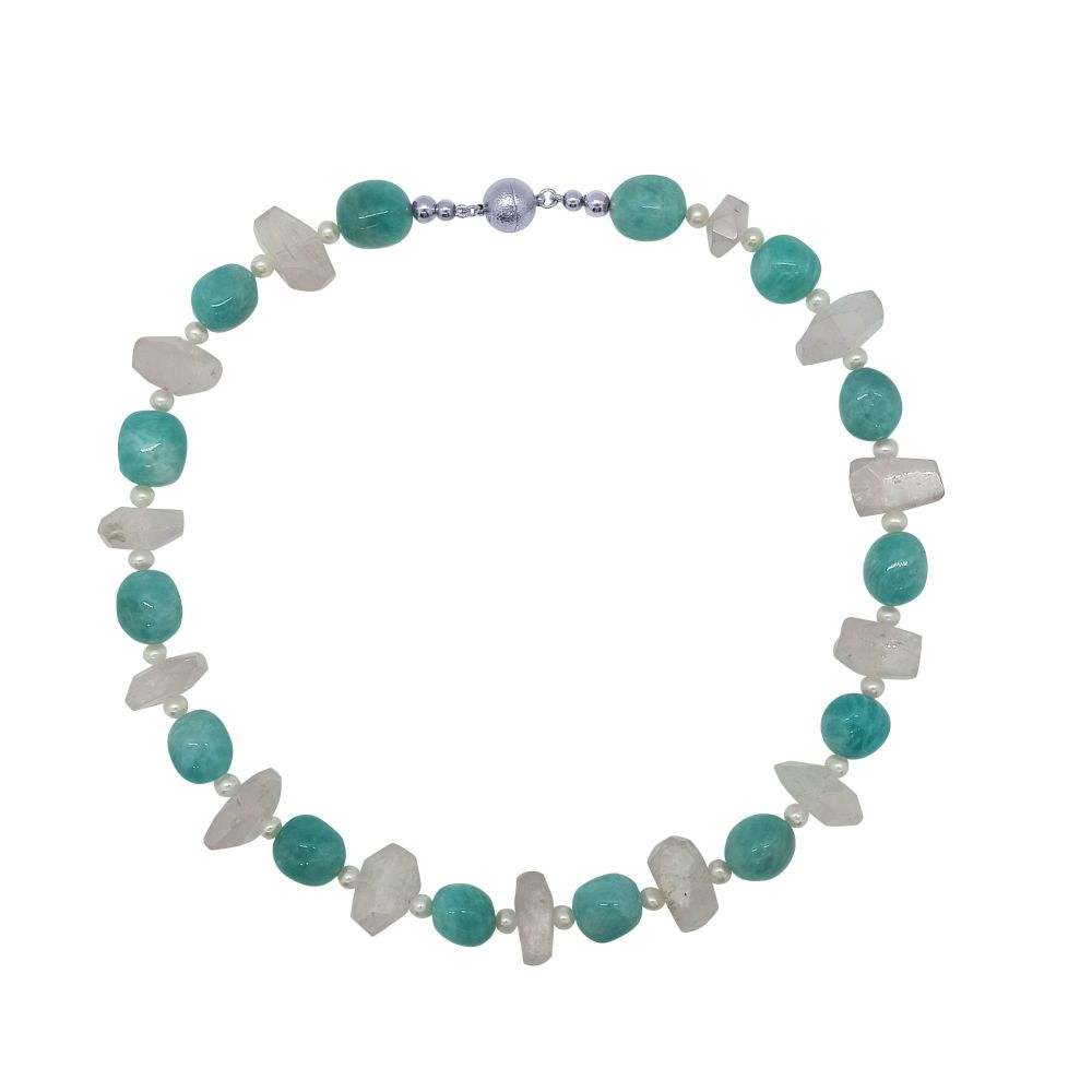 Kunzite, Amazonite and Pearl Necklace by Jupp