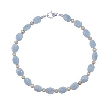 Blue Lace Agate & Pink Pearl  Necklace by Jupp