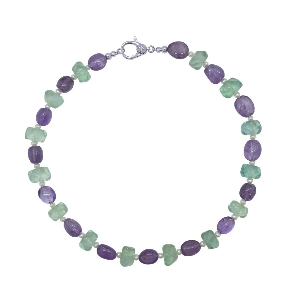 Amethyst, Fluorite and Pearl Necklace by Jupp