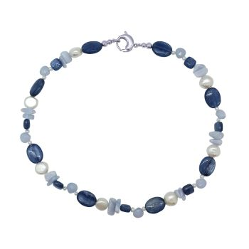 Blue Lace Agate, Kyanite & Pearl  Necklace by Jupp