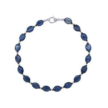 Kyanite, hematite & Pearl  Necklace by Jupp