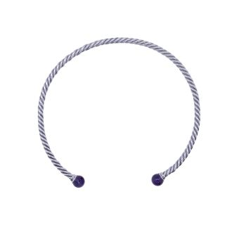 Amethyst Twisted Torque Necklace by JUPP