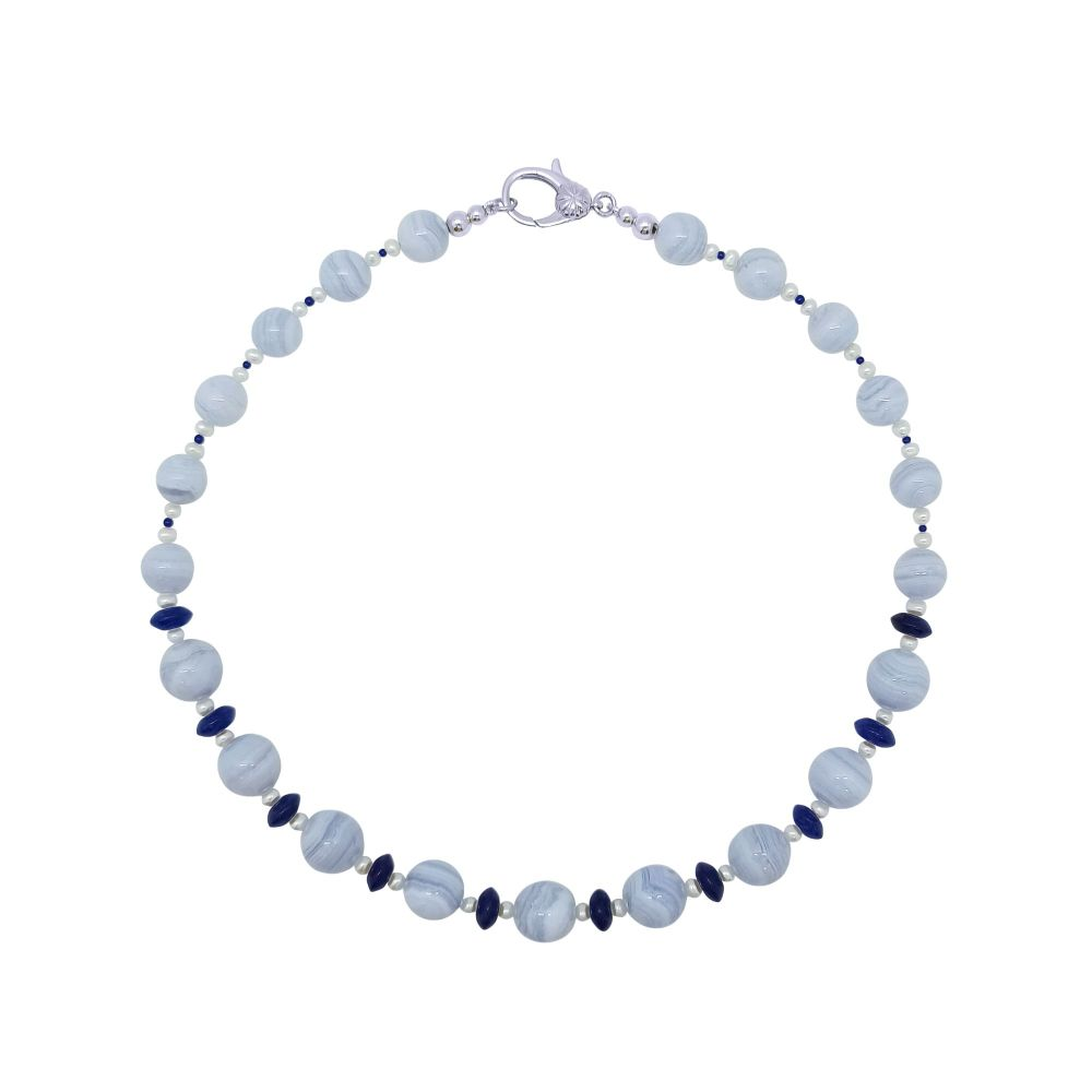 Blue Lace Agate, Lapis Lazuli & Pearl  Necklace by Jupp