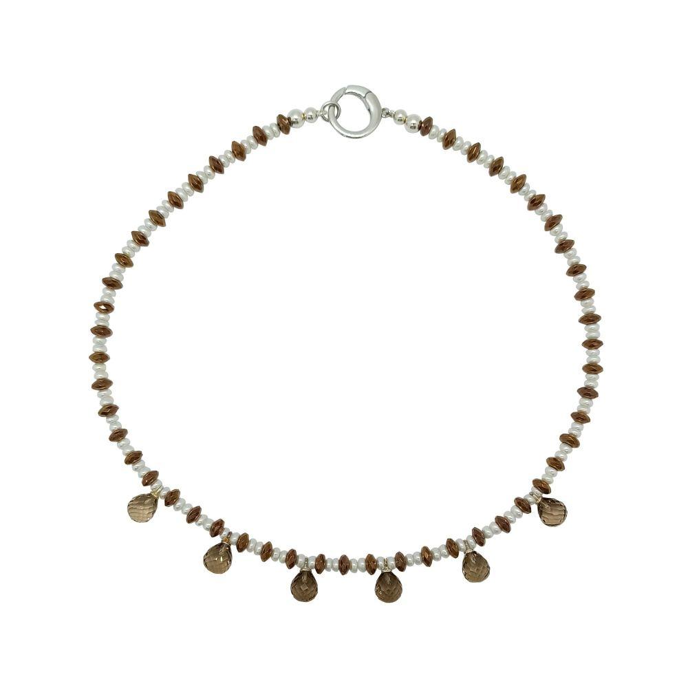Smoky Quartz Briolette Droplet & Pearl Necklace by Jupp