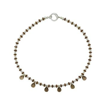 Smoky Quartz Briolette Droplet & Pearl Necklace by Jupp