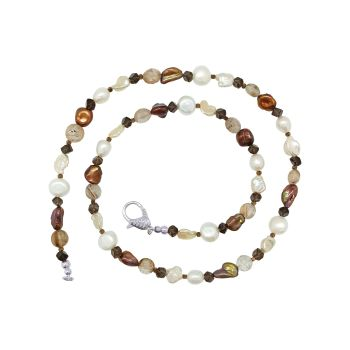 Rutilated Quartz and Chocolate Pearl Necklace by Jupp