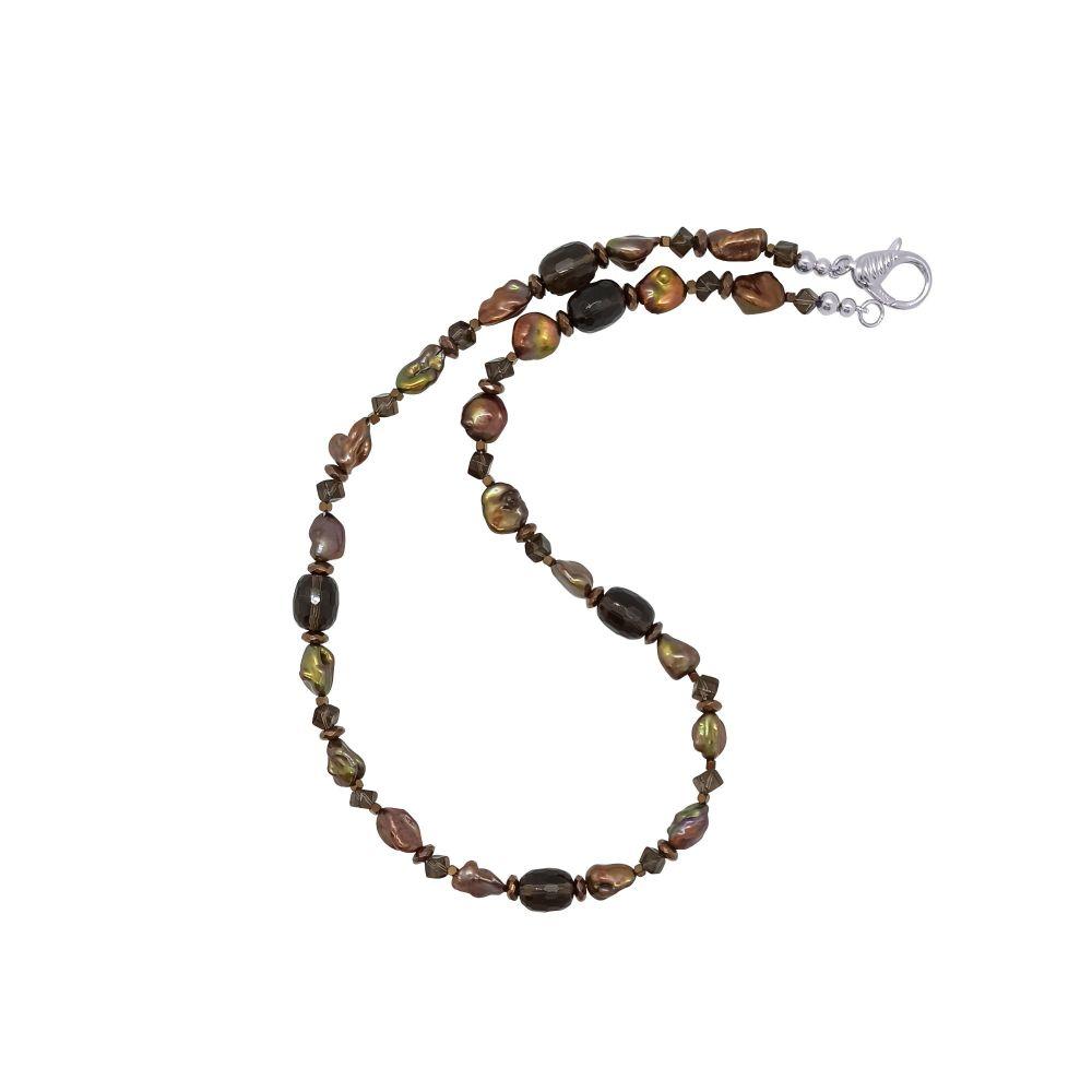 Chocolate Pearl & Smoky Quartz Necklace by Jupp