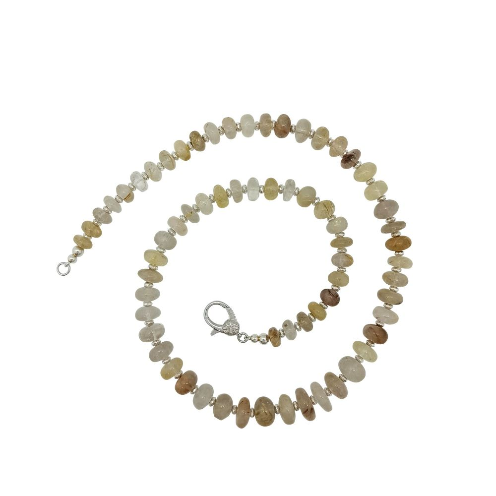 Rutilated Quartz and Hematite Necklace by Jupp