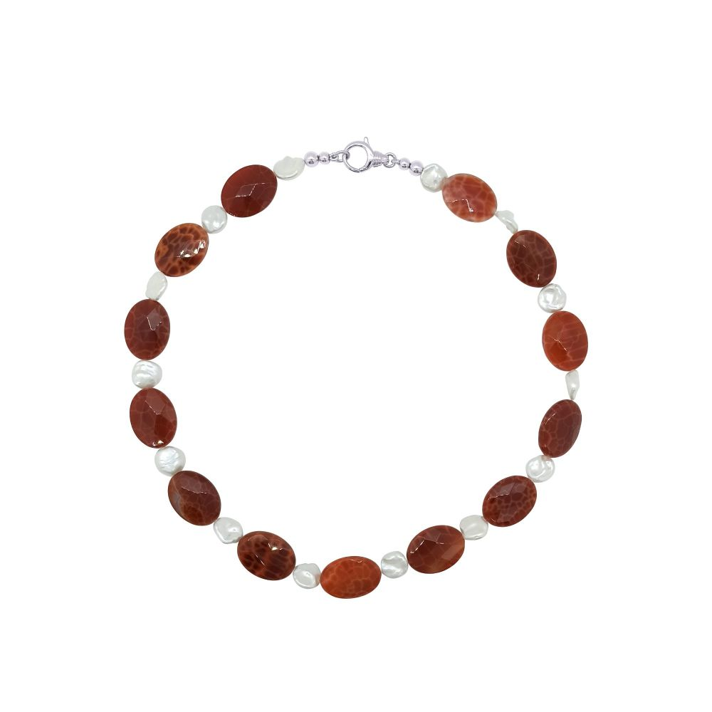 Fire Agate & Keshi Pearl Necklace by Jupp