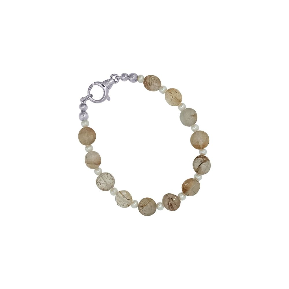 Rutilated Quartz & Pearl Bracelet by Jupp