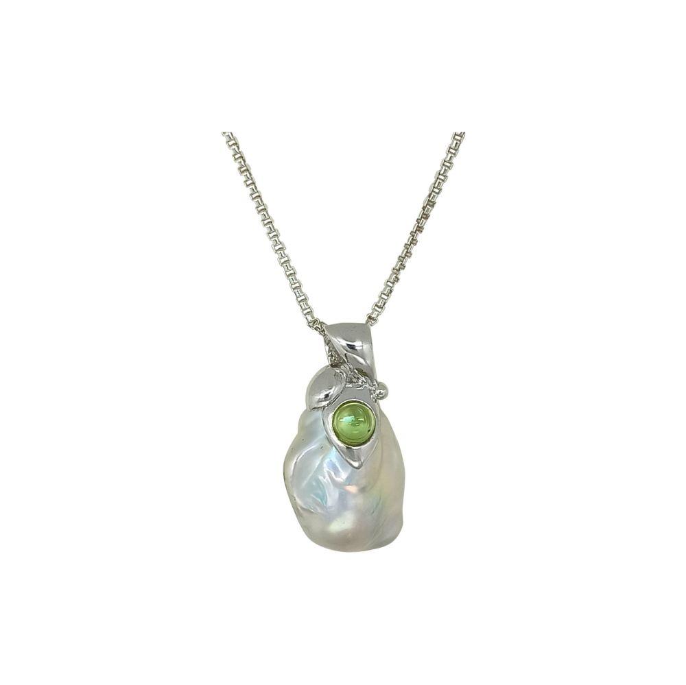 Baroque Pearl & Peridot Pendant & Chain by JUPP