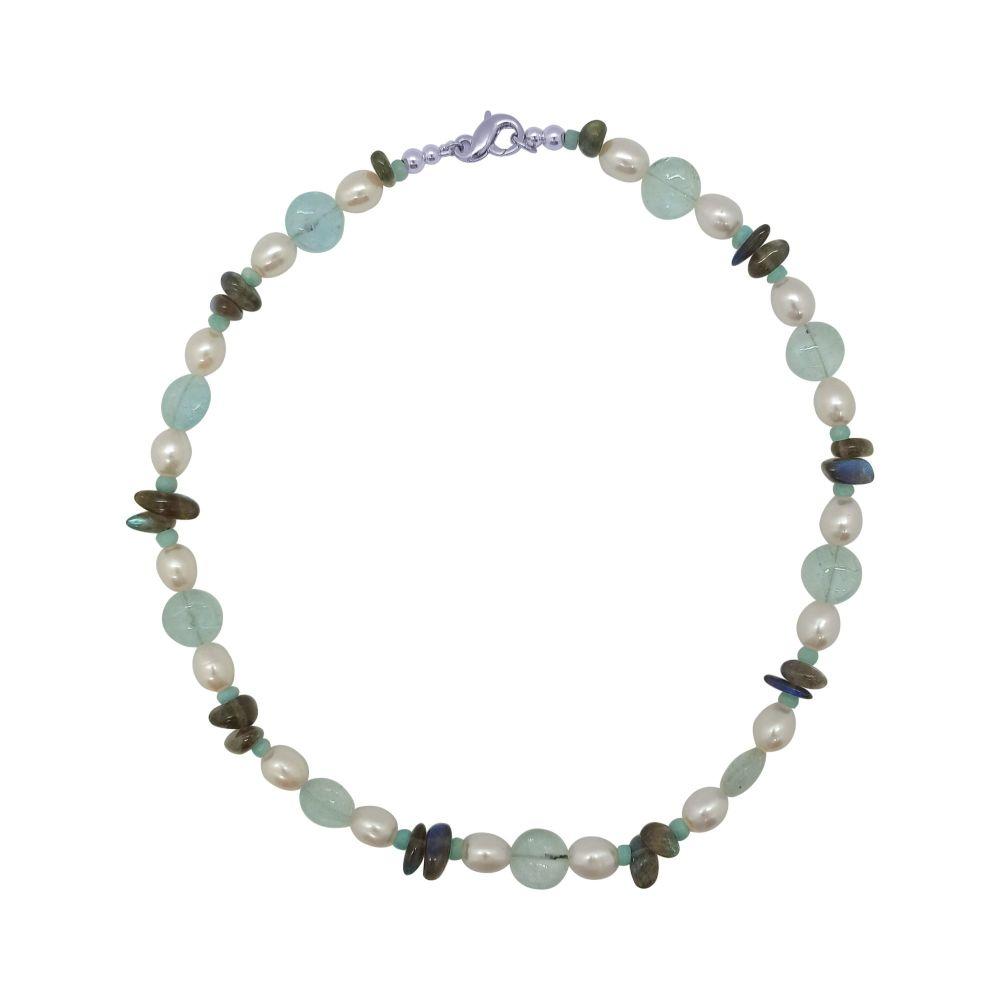 Aquamarine, Labradorite & Pearl Necklace by Jupp