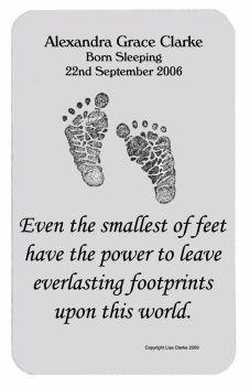 Baby Memorial Personalised Footprint Wallet Card
