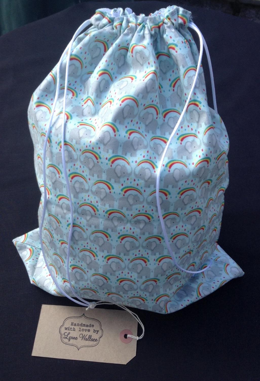 Rainbow/Elephant drawstring Shoe/Gym bag