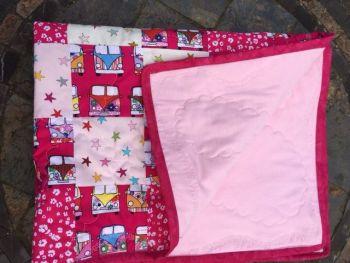 Pink Baby VW campervan patchwork pram quilt