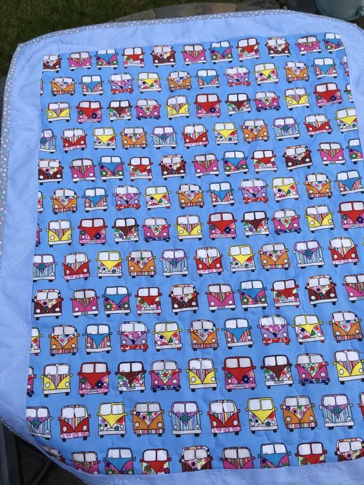 Blue Baby VW campervan pram quilt