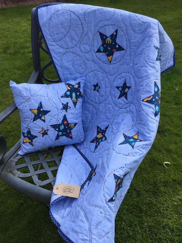 Sea themed handmade patchwork Cot quilt