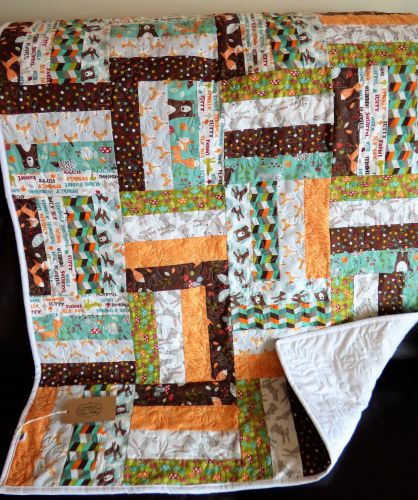 Forest Friends handmade patchwork Cot/cotbed quilt