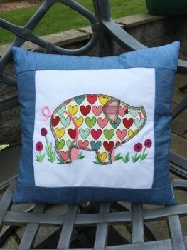 Appliqué Pig cushion handmade