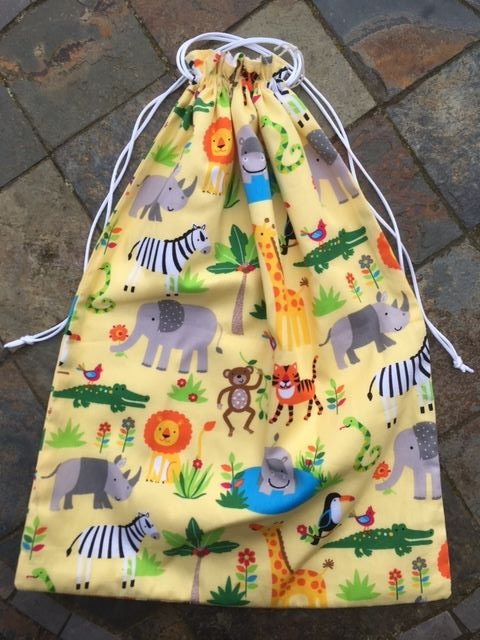 Yellow Jungle animal fabric drawstring Shoe/Gym bag