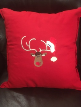 Rudolph with Santa's hat Christmas cushion cover